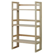 3-Tier Folding Student Bookcase in Natural Finish