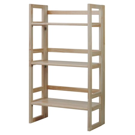 - 3-Tier Folding Student Bookcase in Natural Finish