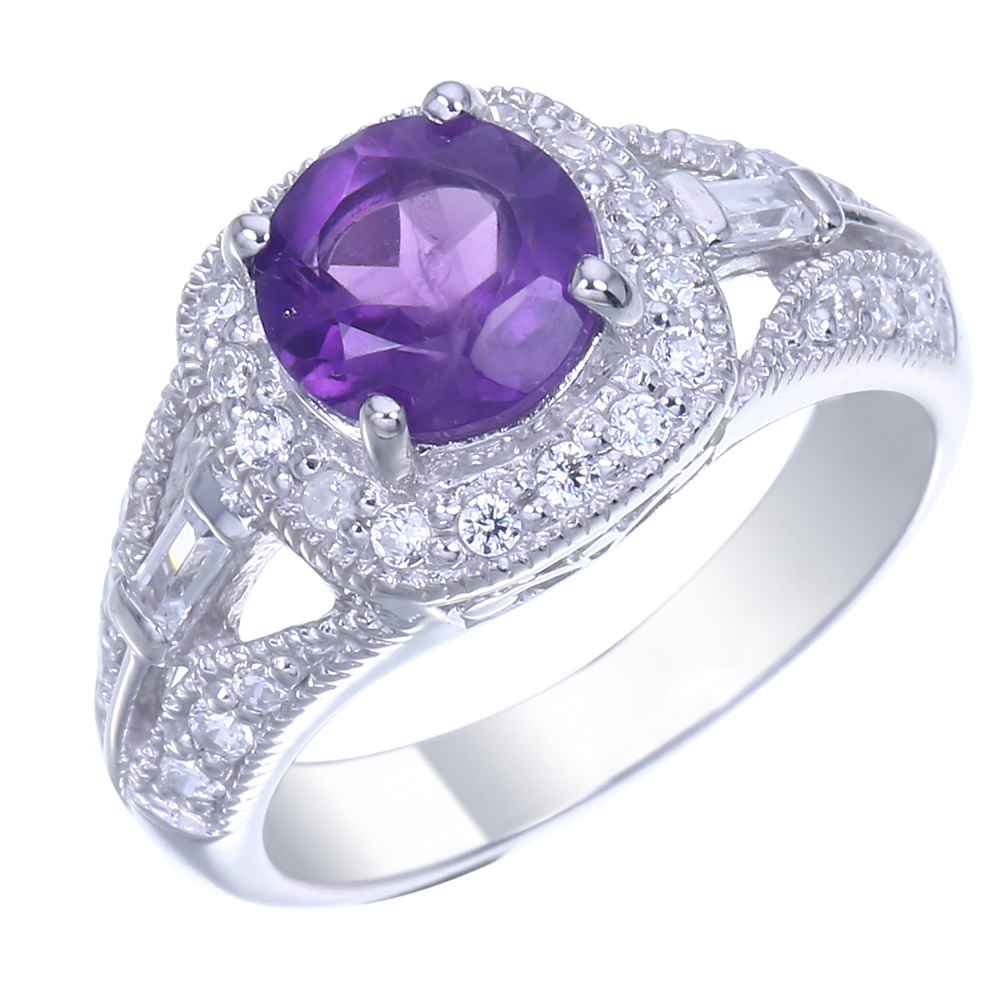 Sterling Silver Amethyst Ring (0.85 CT)