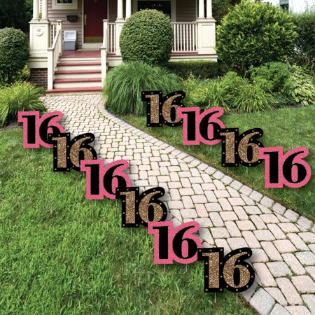 Chic 16th Birthday - Pink, Black and Gold Lawn Decorations - Outdoor Birthday Party Yard Decorations - 10 Piece