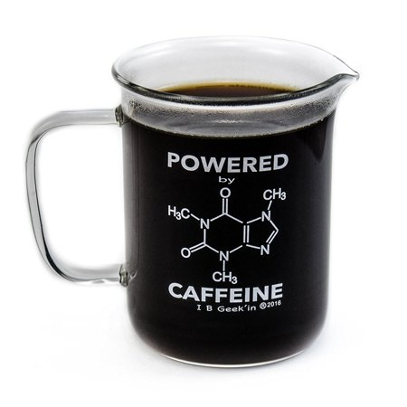 Premium Laboratory Beaker Mug – Powered By Caffeine - Borosilicate Glass 14 oz Capacity – Caffeine Molecule on Front and Funny Graduation Scale on -