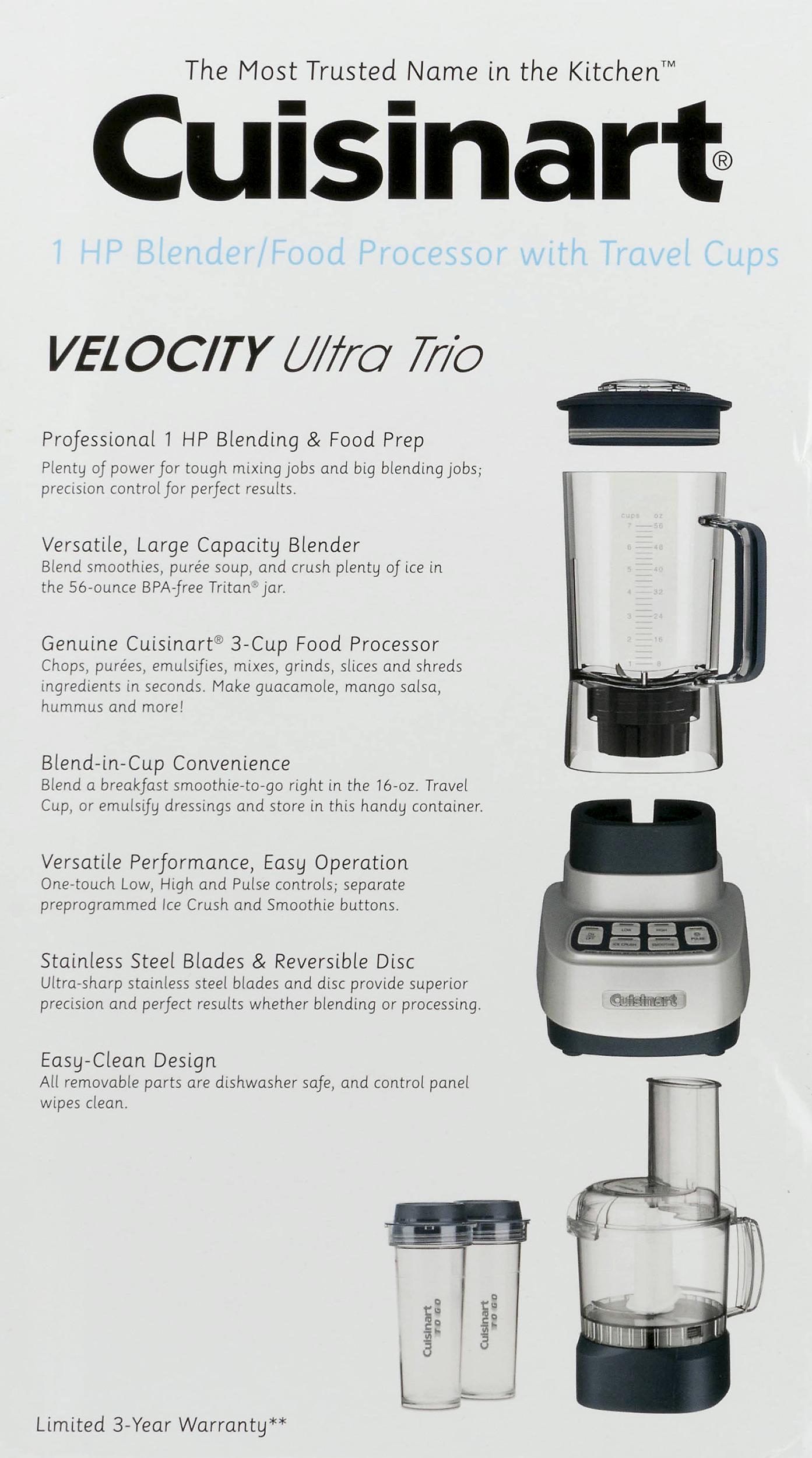 Cuisinart Velocity Ultra Trio Blender Food Processor Travel Cups Gun Metal