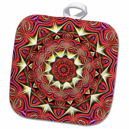 3dRose Red Mandala Style a Asian Symbol - Pot Holder, 8 by 8-inch