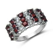 Malaika 4.14 Carat Genuine Garnet and White Topaz .925 Sterling Silver Ring Size-8, Red