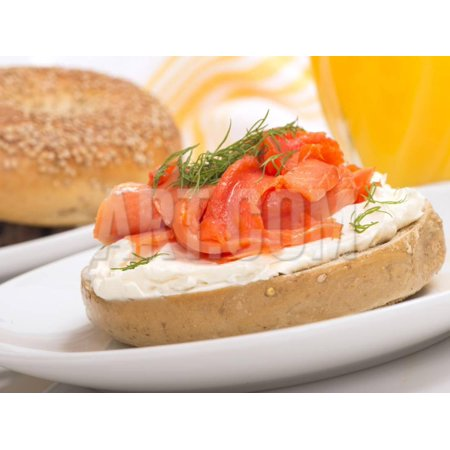 Delicious Freshly Baked Everything Bagel with Cream Cheese, Lox and Dill Served with Fresh Orange J Print Wall Art By