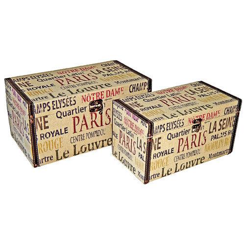 Cheungs Rectangular Box with Parisian Typography (Set of 2)