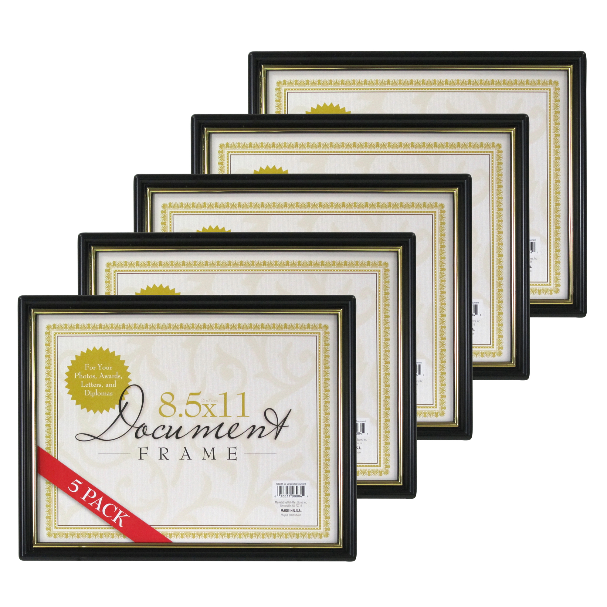 85x11 Document Frame Black With Gold Trim Set Of 5 Walmartcom