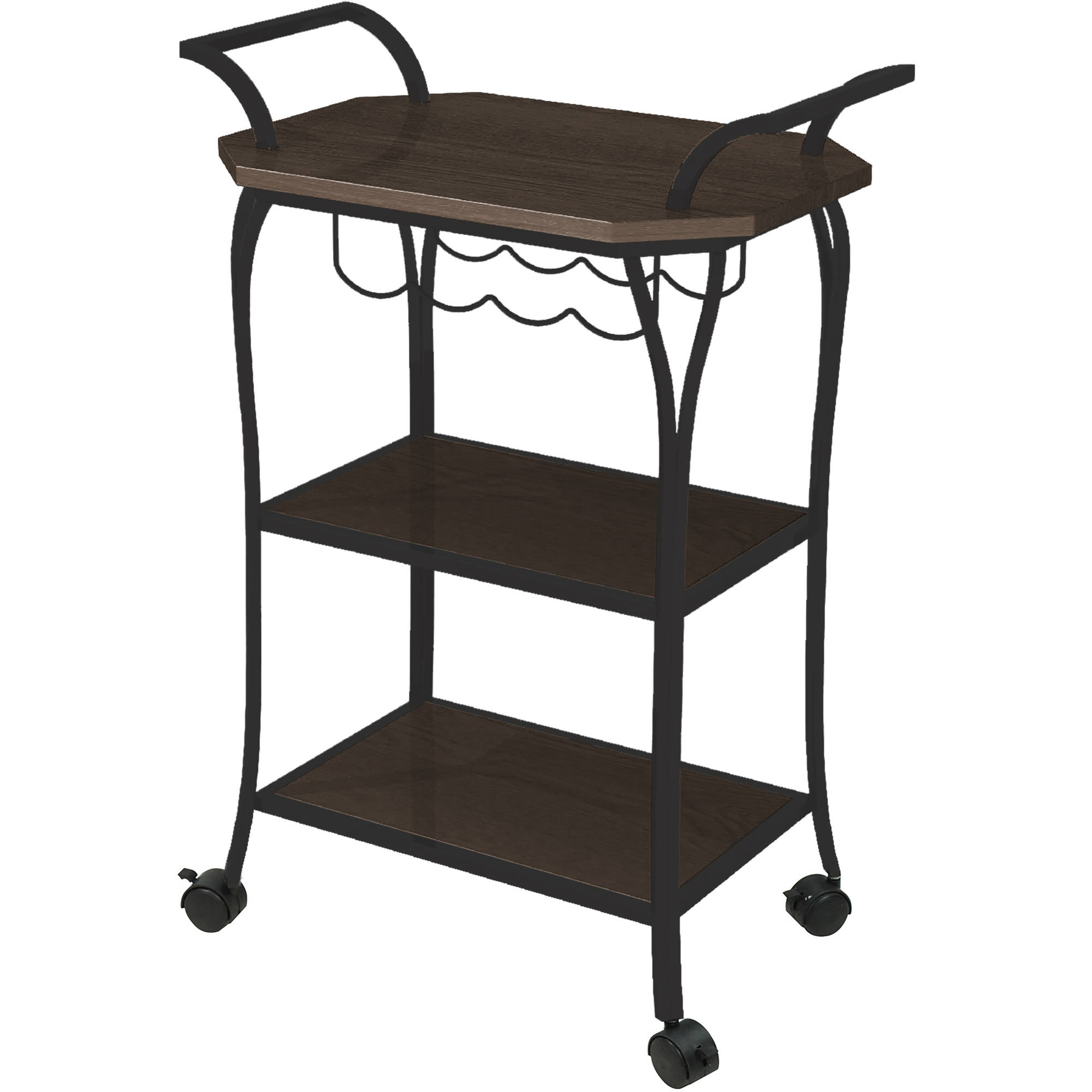 Better Homes and Gardens Mixed Material Kitchen Cart with Wine Rack