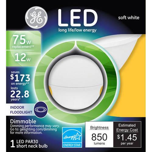 GE 75-Watt Equivalent Soft White Par 30 LED Smooth Light Bulb