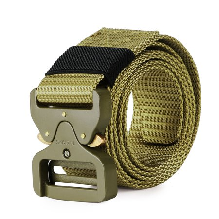 Tactical Belt, Military Webbing Riggers Belt with Heavy-Duty Quick-Release  Metal Buckle, Army Green