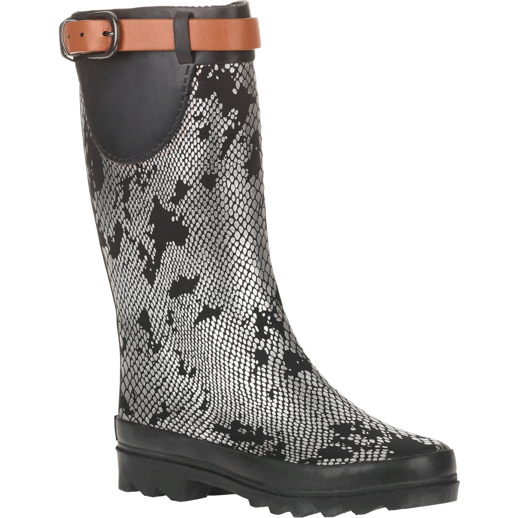 Forever Young Women's Metallic Snake Skin Print Couture Rain Boot