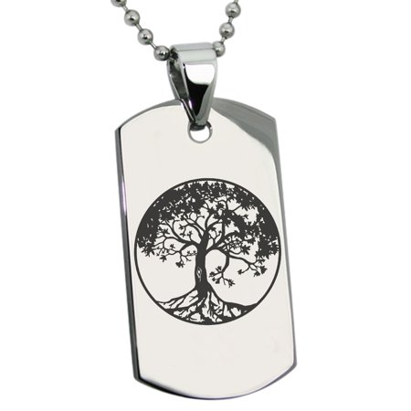 Stainless Steel Tree of Life Engraved Dog Tag Pendant Necklace