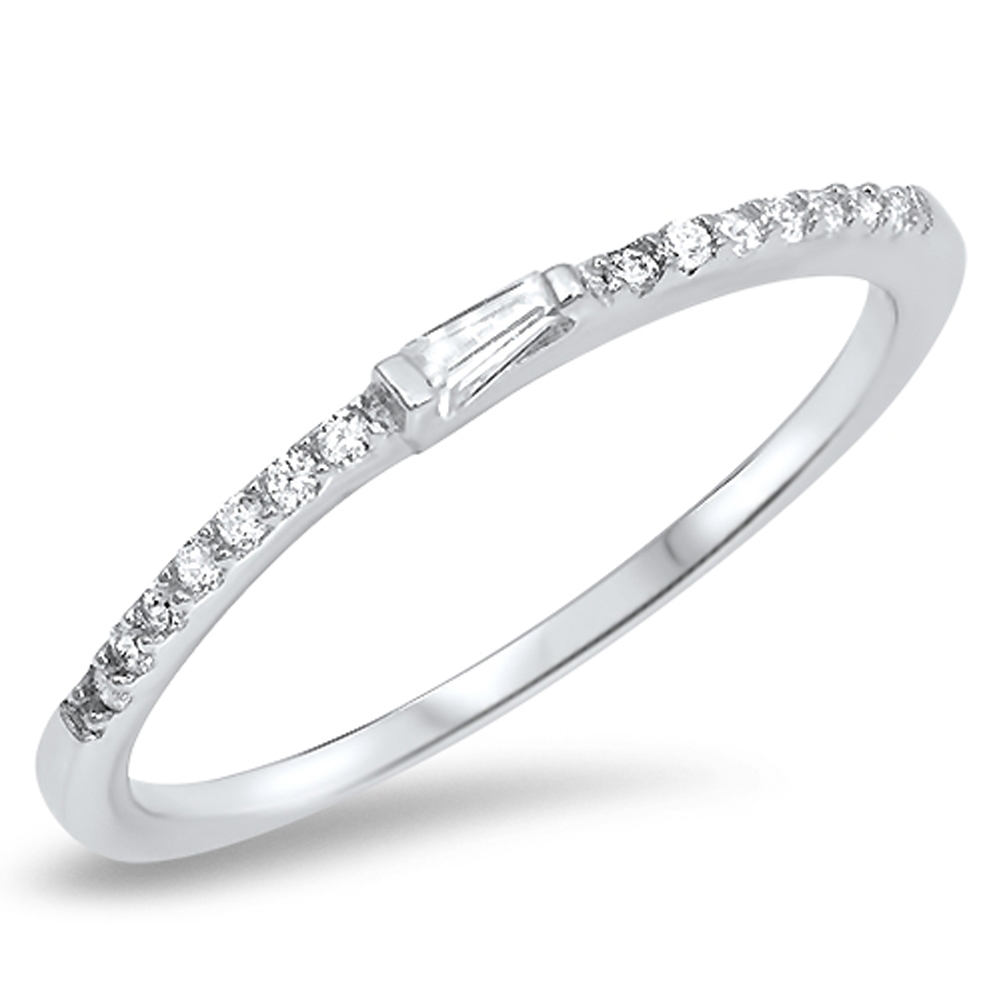 Thin White CZ Wedding Ring ( Sizes 3 4 5 6 7 8 9 10 ) New .925 Sterling Silver Stackable Band Rings by Sac Silver (Size 10)