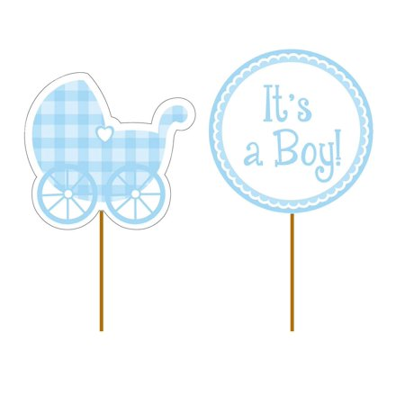 93228 It's A Boy Gingham Picks, Blue, 12-Count cupcake picks. 6 picks with cutout stroller decoration, 6 with round cutout that reads it's a boy. 3.5 x.., By Creative Converting](Gingham Decorations)