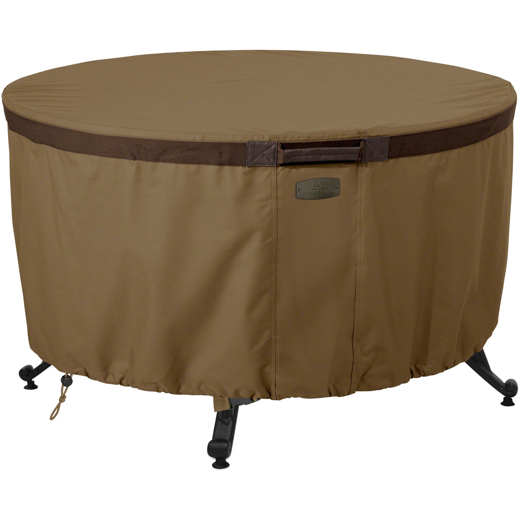 "Classic Accessories Hickory Round Fire Pit Table Cover - Water Resistant Outdoor Furniture Cover, 42""DIA x 22""H, Hickory"