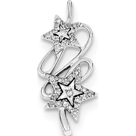 Leslies Fine Jewelry Designer 925 Sterling Silver Rhodium Plated Diamond Double Star (11x25mm) Pendant Gift