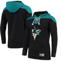 San Jose Sharks Fanatics Branded Breakaway Lace Up Hoodie - Black/Teal