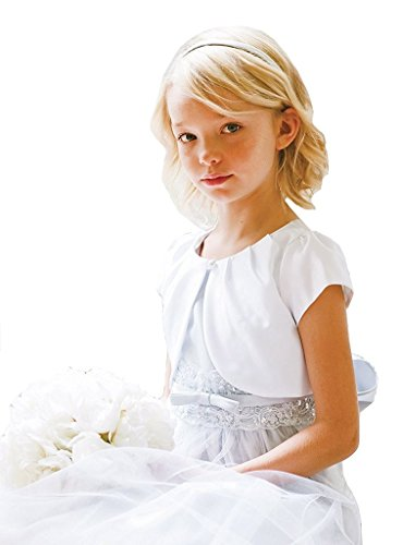 BNY Corner Flower Girl Bolero Plain Bridal Satin Shrug