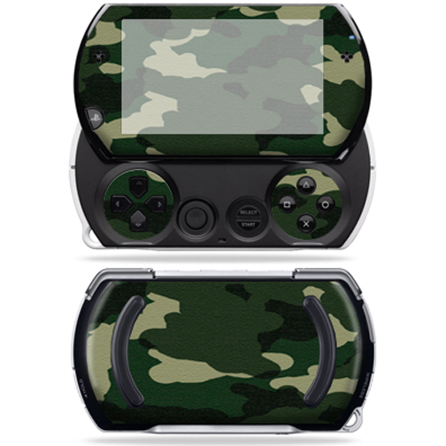 Mightyskins Protective Vinyl Skin Decal Cover for Sony PSP Go System wrap sticker skins Green Camo