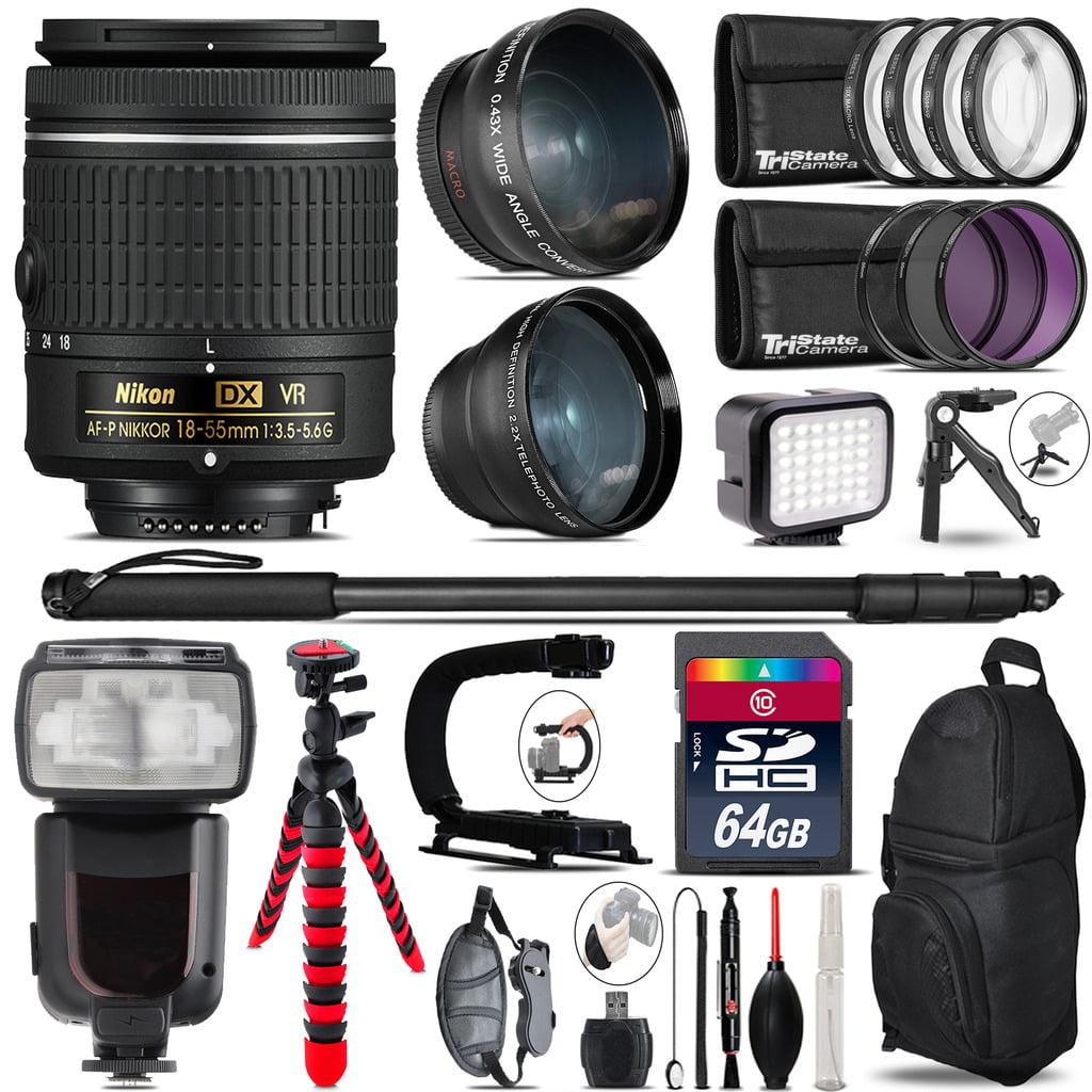 Nikon AF-P 18-55mm VR + Pro Flash + LED Light + Tripod - 64GB Accessory Bundle