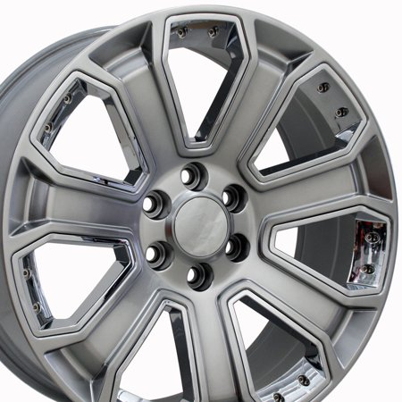 Escalade Drop - OE Wheels 22 Inch | Fits Chevy Silverado Tahoe GMC Sierra Yukon Cadillac Escalade | CV93 Hyper Black with Chrome 22x9 Rim - Hollander 5661