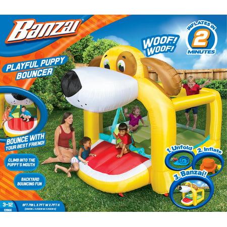 Banzai Playful Puppy Bouncer (Inflatable Jumping Bounce House Backyard Summer Bouncing Jump Castle)