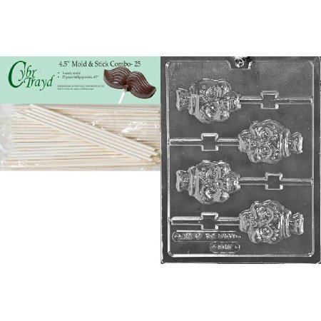 Cybrtrayd 45St25-H169 Skull Lolly Halloween Chocolate Candy Mold with 25 4.5-Inch Lollipop Sticks