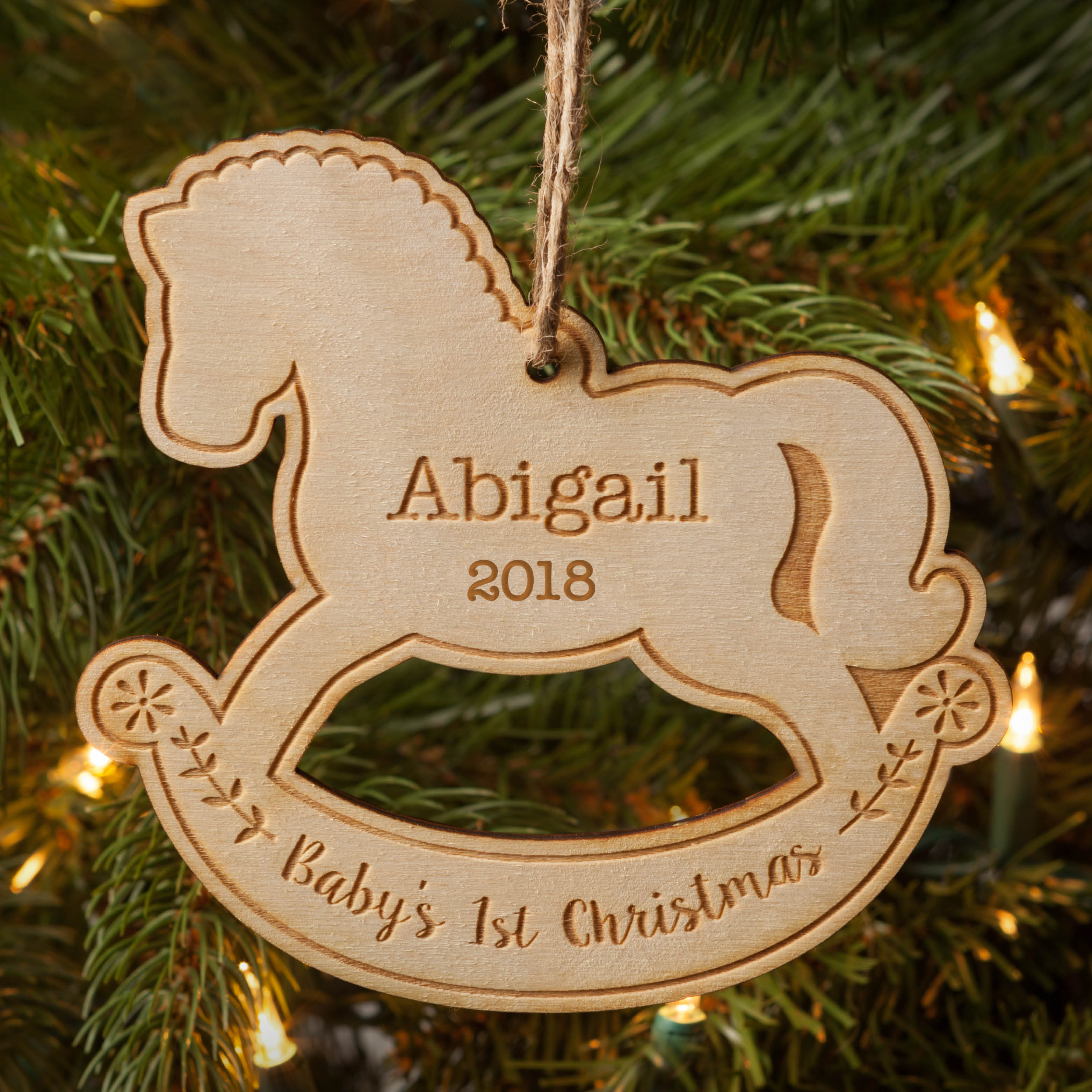 Baby's 1St Christmas Personalized Wood Christmas Ornament