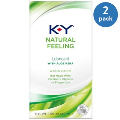 (2 Pack) K-Y Natural Feeling Personal Lubricant Gel With Aloe Vera, Water Based & Free From Harmful Chemicals 1.69 oz