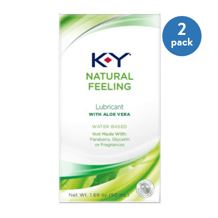 - (2 Pack) K-Y Natural Feeling Personal Lubricant Gel With Aloe Vera, Water Based & Free From Harmful Chemicals 1.69 oz