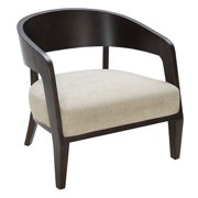 LumiSource  Black and White Fabric and Wood Mesa Accent Chair