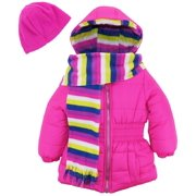 Pink Platinum Toddler Girls Solid Color Winter Puffer Jacket Fleece Lined Coat with Stripe Lining Scarf and Hat