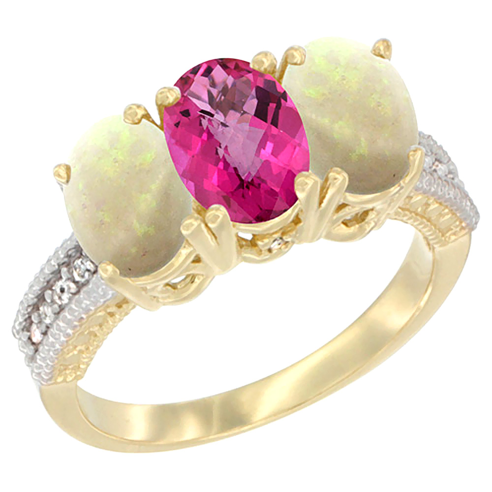 10K Yellow Gold Diamond Natural Pink Topaz & Opal Ring 3-Stone 7x5 mm Oval, sizes 5 10 by WorldJewels