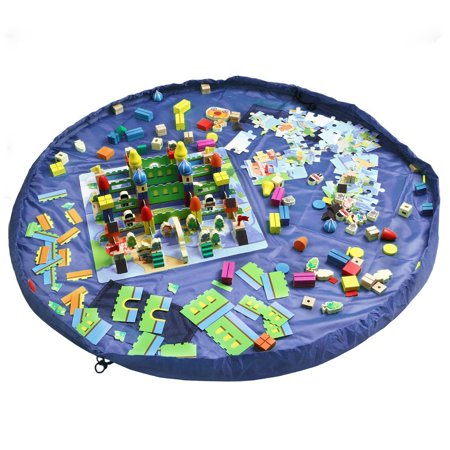 60 Childrens Floor Play Mat In Portable Shoulder Bag Toddlers Kids Toy Storage Organizer Net