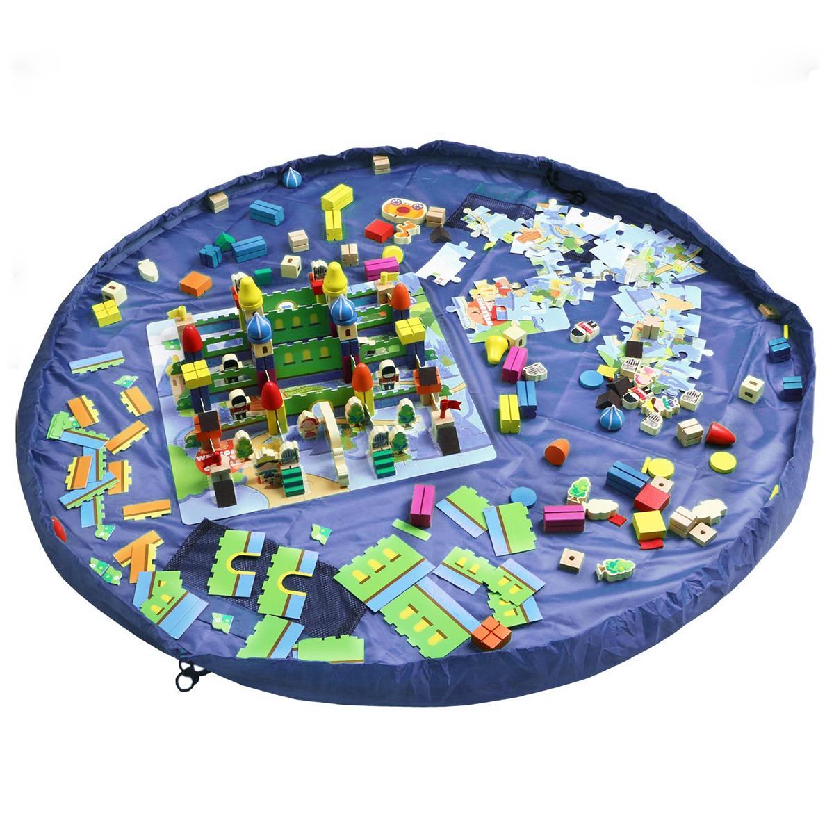 60 Childrens Floor Play Mat In Portable Shoulder Bag Toddlers Kids Toy Storage Organizer Net