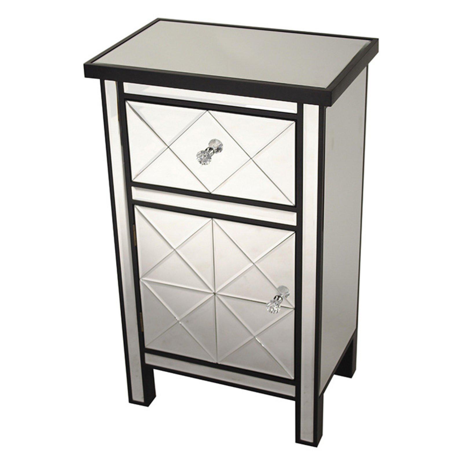 Heather Ann Creations Emmy Medium 1 Drawer 1 Door Mirrored Accent Cabinet