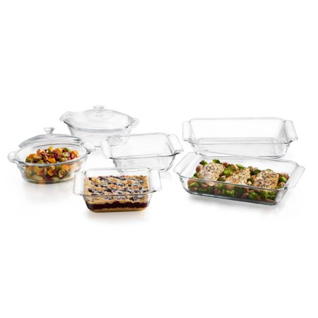 - Libbey Baker's Premium 6-Piece Glass Casserole Baking Dish Set with 2 Covers