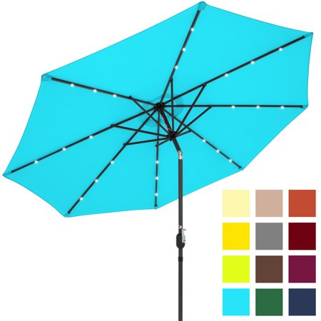 Best Choice Products 10-foot Solar Powered Aluminum Polyester LED Lighted Patio Umbrella w/ Tilt Adjustment and Fade-Resistant Fabric, Light Blue ()