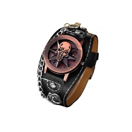 Copper Color Skull Head 7 Pointed Star Wide Band Gothic Biker Glow in Dark Hands  Watch-351 - Glow Bands Online