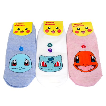 3 Pairs Set Pokemon Socks Character Charmander, Squirtle, Bulbasaur