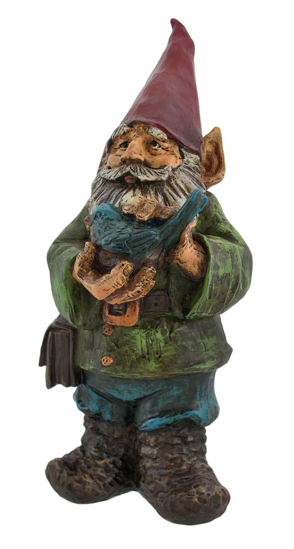 Carved Wood Look Garden Gnome with Bluebird by Young's Inc.