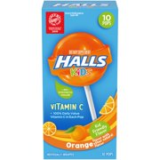Halls Kids Pops Orange 10 Ct
