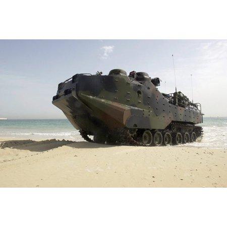 Marines navigate an Amphibious Assault Vehicle onto the beach Poster Print by Stocktrek Images (Marine Amphibious Assault)