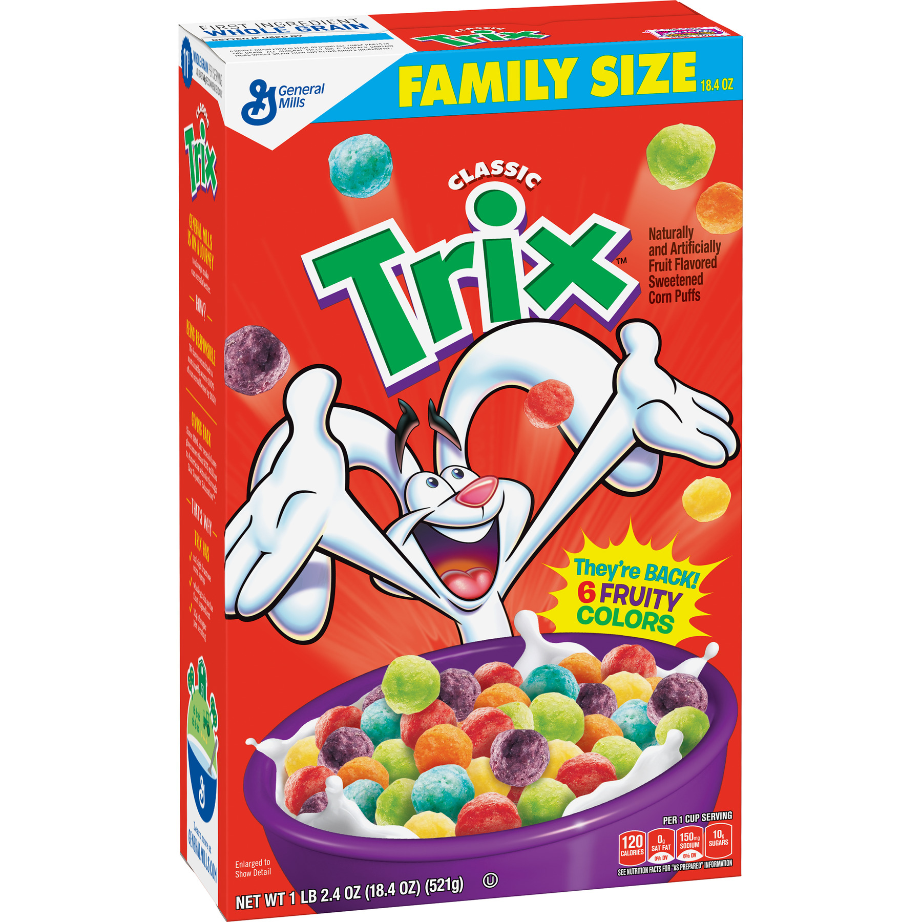 (2 Pack) Trix Cereal, Fruit Flavored Corn Puffs Cereal, 18.4 oz