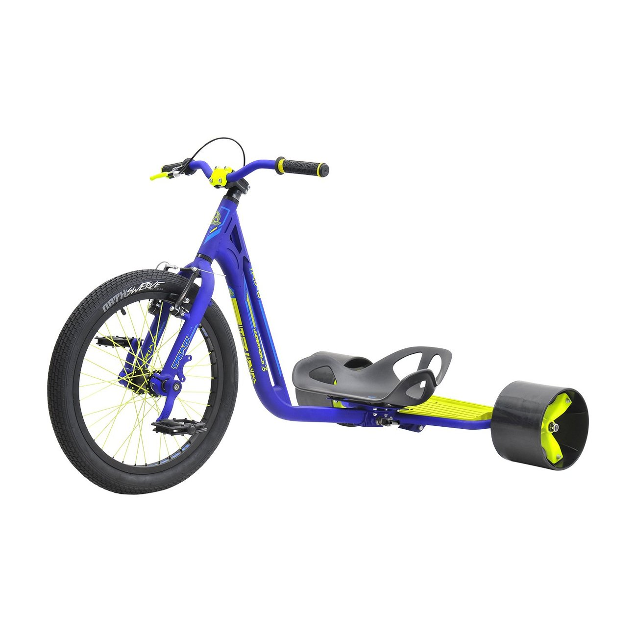 Triad Drift Trike - Underworld 3 - Adult Tricycle with Snake Head Frame, Commander V Brakes Blue/Neon Yellow