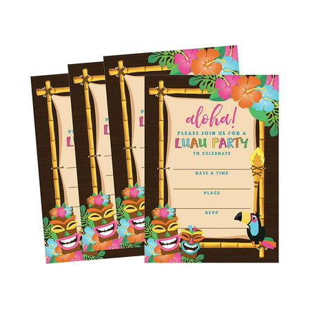 50 Tiki Hawaiian Luau Summer Swim Pool Party Invitations for Children, Kids, ... - Luau Invitation Ideas