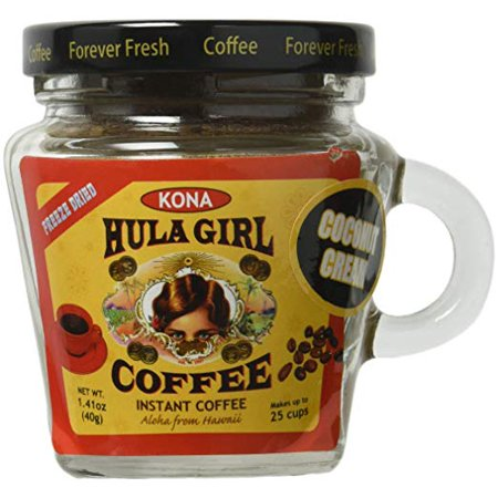 Hula Girl Kona Blend Freeze Dried Instant Coffee Coconut Cream Small Jar, 40