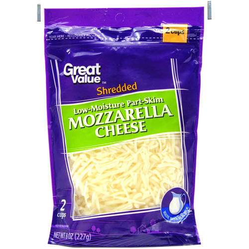 Great Value Shredded Low-Moisture Part-Skim Mozzarella Cheese, 8 oz