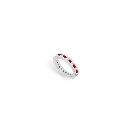 Diamond and Ruby Eternity Band 14K White Gold 1.00 CT TGW - image 2 of 2