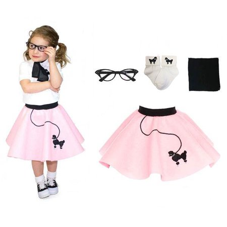 Toddler 4 pc - 50's Poodle Skirt Outfit - 1-3 / Light Pink - 50s Items